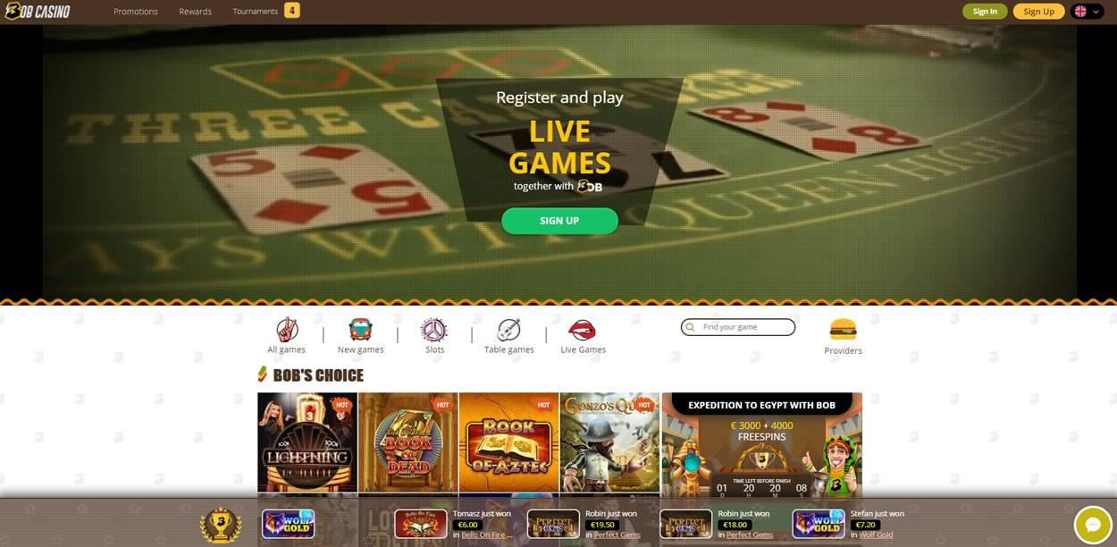 bob casino index